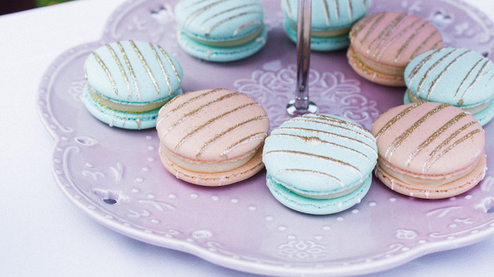 Gold Striped Macarons featured in a Hot Air Balloon Birthday Party on Kara's Party Ideas | KarasPartyIdeas.com (11)