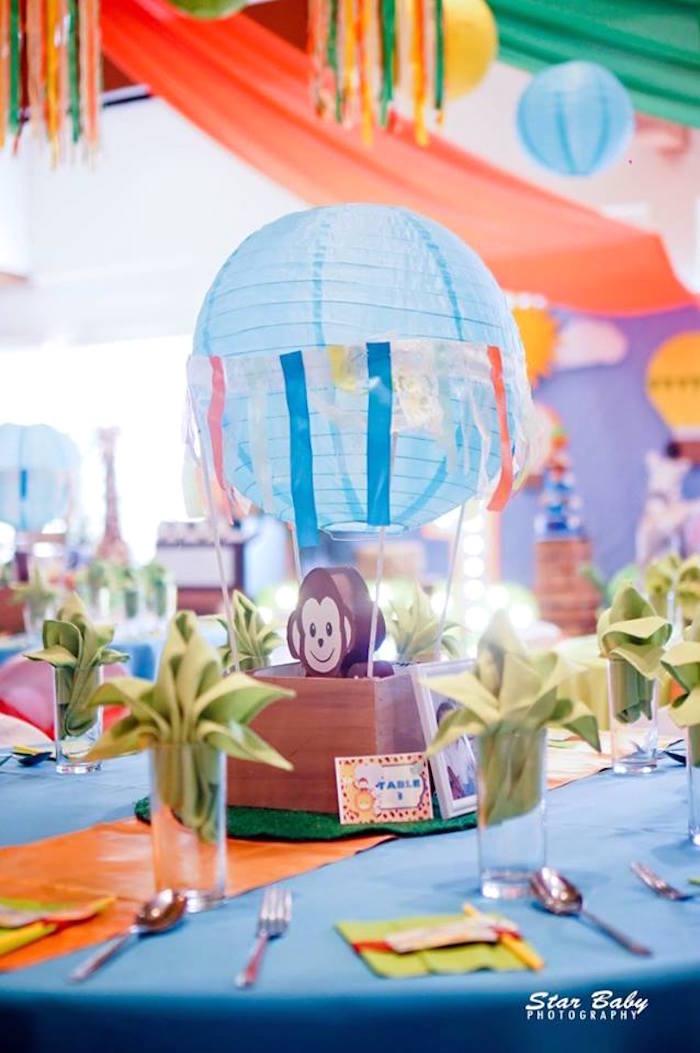 Monkey Hot Air Balloon Centerpiece from a Hot Air Balloon Safari Birthday Party on Kara's Party Ideas | KarasPartyIdeas.com (21)