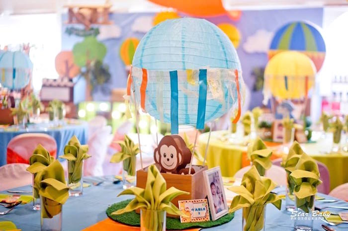 Guest Table from a Hot Air Balloon Safari Birthday Party on Kara's Party Ideas | KarasPartyIdeas.com (19)