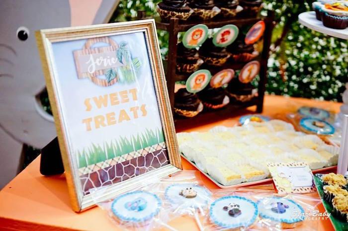 Sweet Treats Table from a Hot Air Balloon Safari Birthday Party on Kara's Party Ideas | KarasPartyIdeas.com (18)