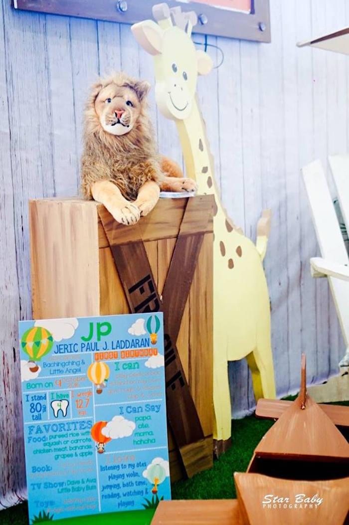 Safari Party Decor from a Hot Air Balloon Safari Birthday Party on Kara's Party Ideas | KarasPartyIdeas.com (17)
