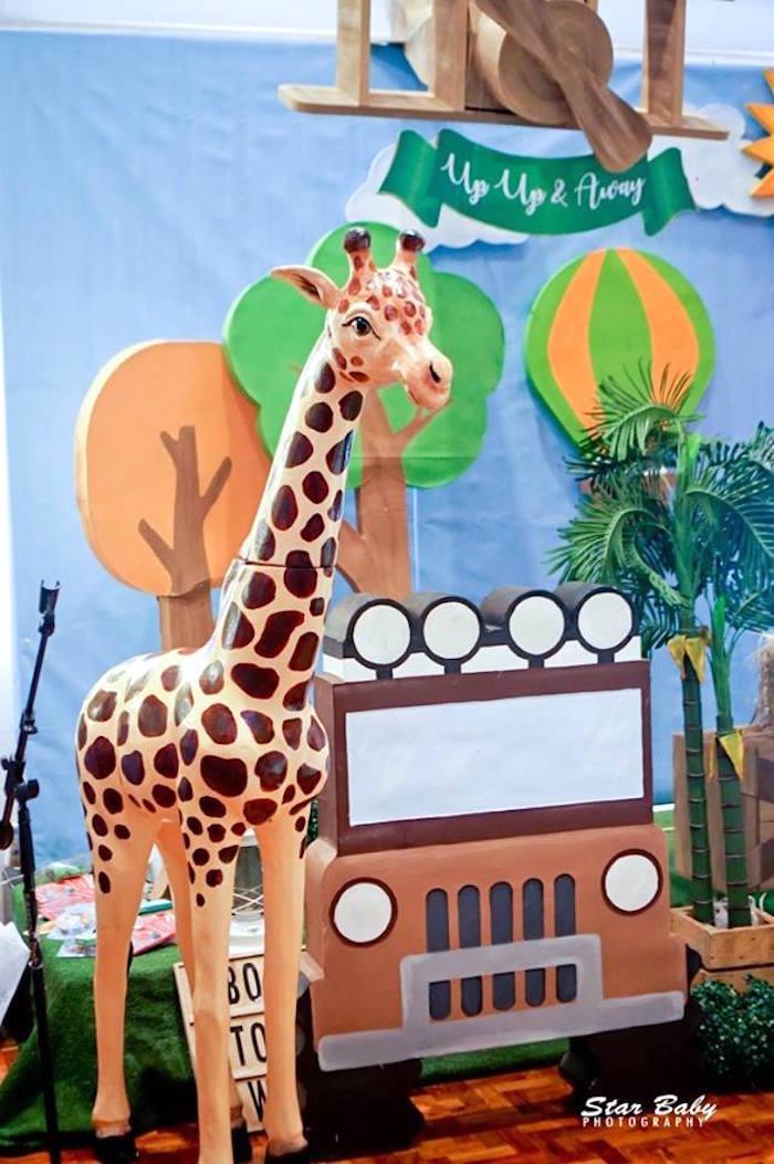 Jeep and Giraffe from a Hot Air Balloon Safari Birthday Party on Kara's Party Ideas | KarasPartyIdeas.com (15)