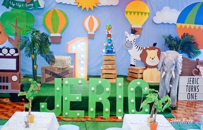 Hot Air Balloon Safari Stage from a Hot Air Balloon Safari Birthday Party on Kara's Party Ideas | KarasPartyIdeas.com (14)