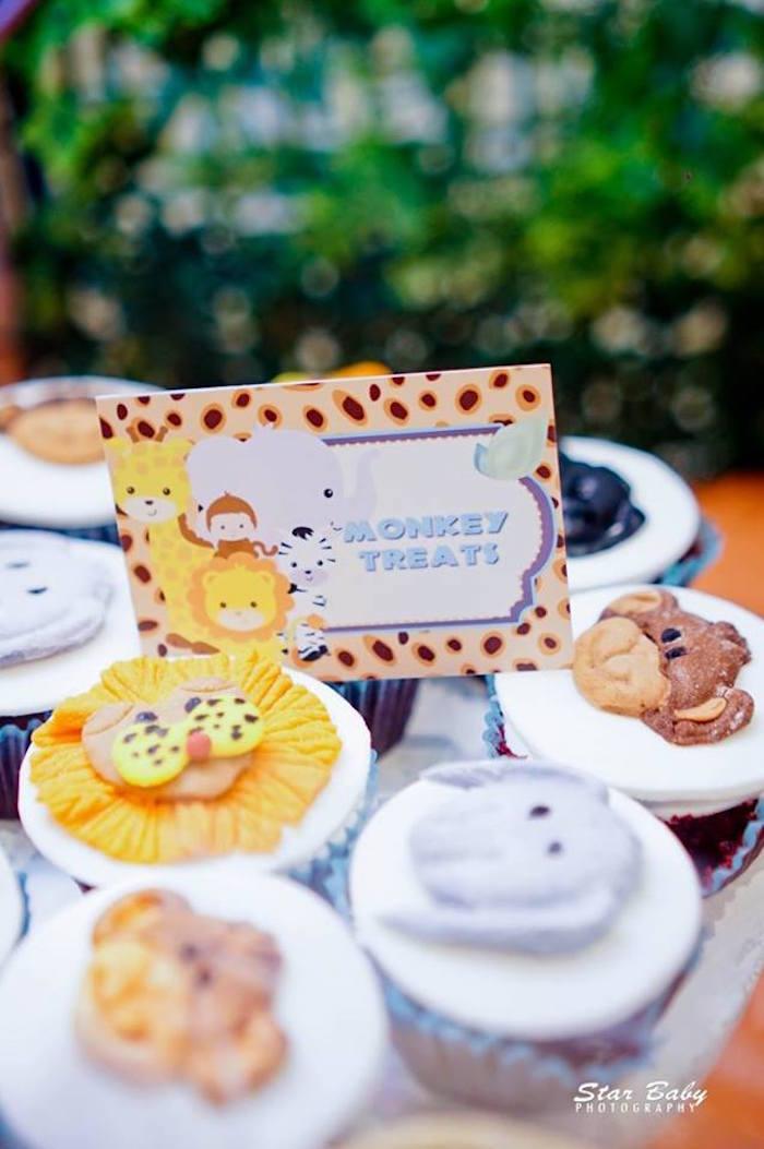 Safari Animal Cupcakes from a Hot Air Balloon Safari Birthday Party on Kara's Party Ideas | KarasPartyIdeas.com (13)