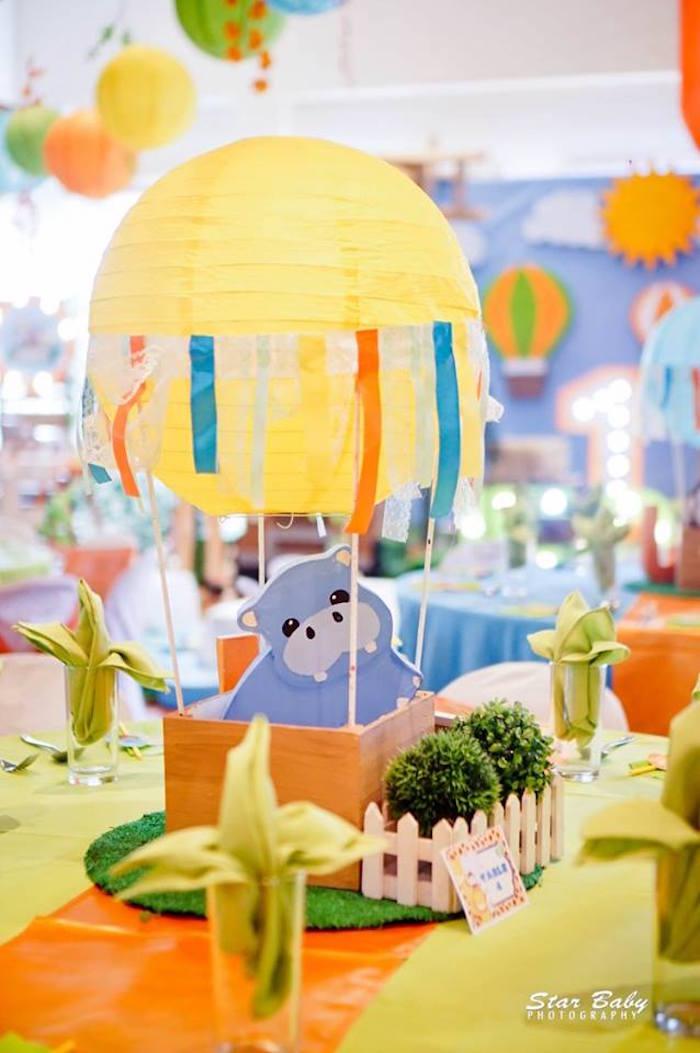 Hippo Hot Air Balloon Centerpiece from a Hot Air Balloon Safari Birthday Party on Kara's Party Ideas | KarasPartyIdeas.com (12)