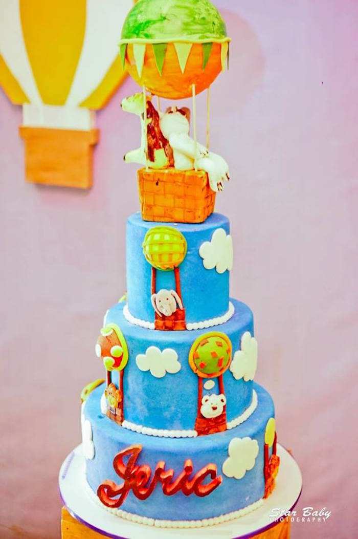 Hot Air Balloon Safari Cake from a Hot Air Balloon Safari Birthday Party on Kara's Party Ideas | KarasPartyIdeas.com (7)
