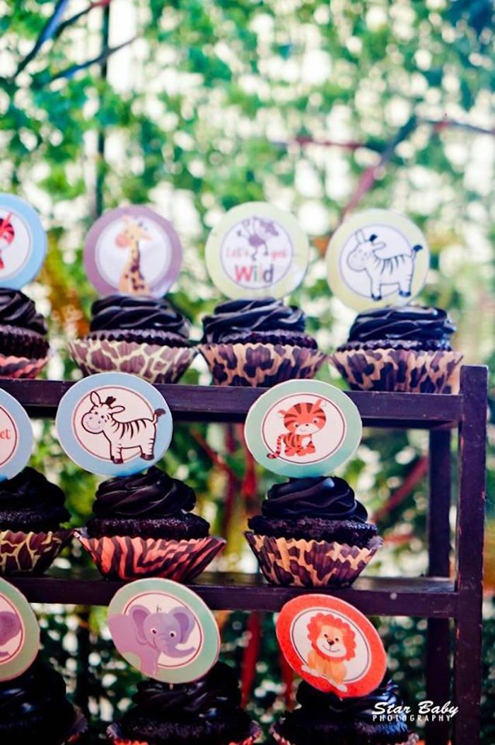 Safari Animal Cupcakes from a Hot Air Balloon Safari Birthday Party on Kara's Party Ideas | KarasPartyIdeas.com (6)