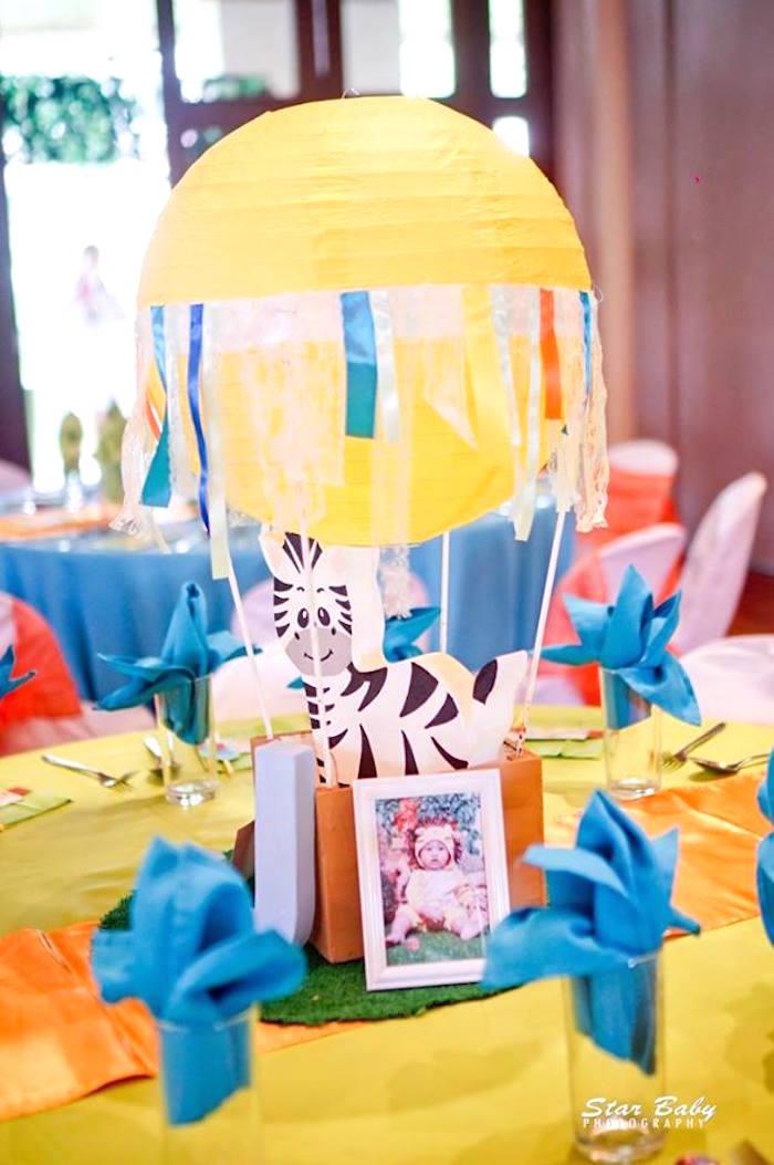 Hot Air Balloon Zebra Centerpiece from a Hot Air Balloon Safari Birthday Party on Kara's Party Ideas | KarasPartyIdeas.com (5)