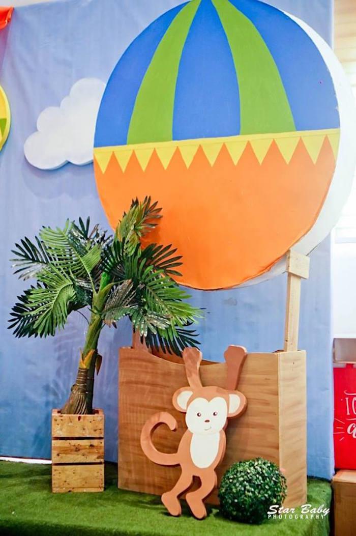 Monkey Hot Air Balloon Decoration from a Hot Air Balloon Safari Birthday Party on Kara's Party Ideas | KarasPartyIdeas.com (29)