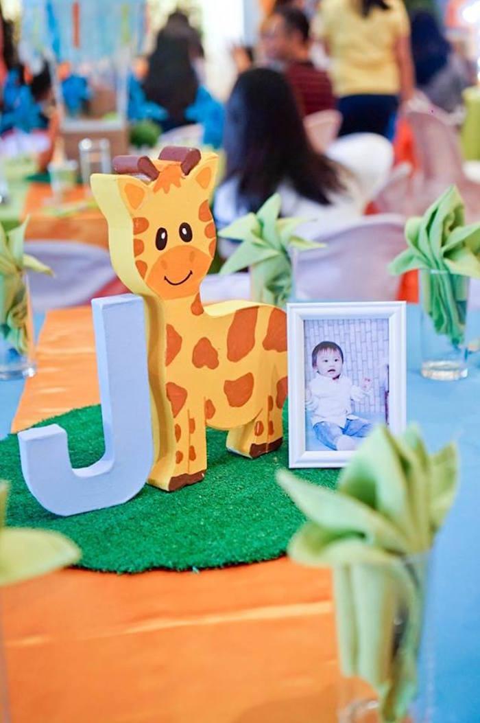 Safari Party Centerpiece from a Hot Air Balloon Safari Birthday Party on Kara's Party Ideas | KarasPartyIdeas.com (27)