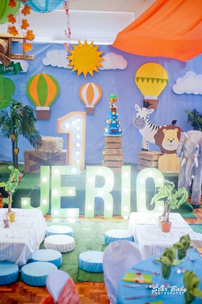 Kid Tables from a Hot Air Balloon Safari Birthday Party on Kara's Party Ideas | KarasPartyIdeas.com (25)
