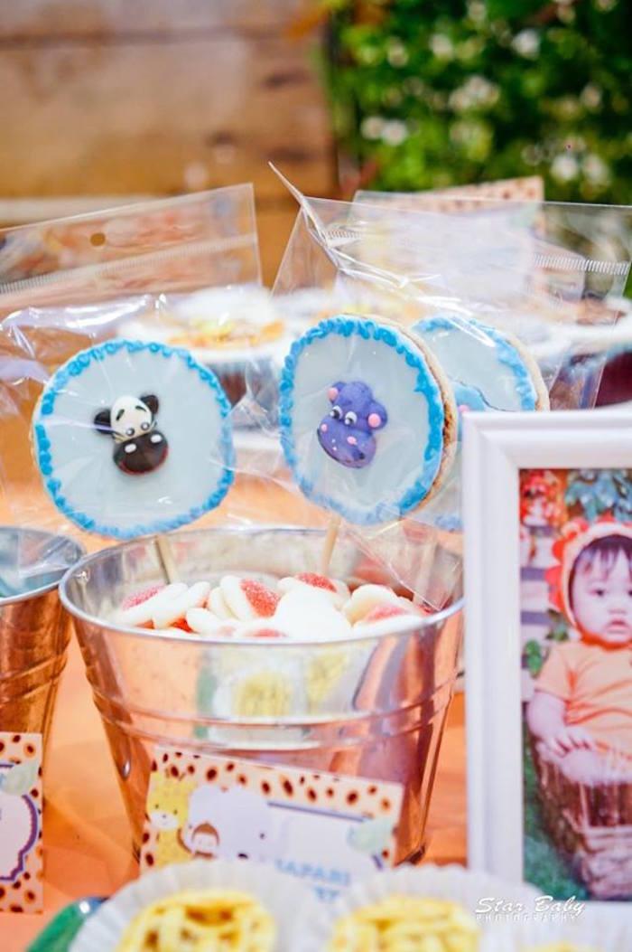 Safari Animal Cookie Pops from a Hot Air Balloon Safari Birthday Party on Kara's Party Ideas | KarasPartyIdeas.com (23)