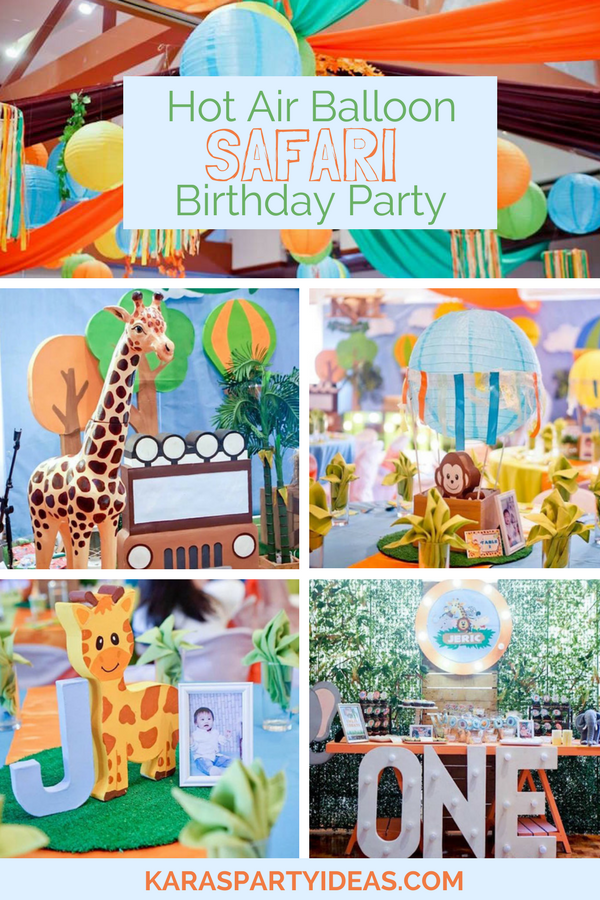 Hot Air Balloon Safari Birthday Party via KarasPartyIdeas - KarasPartyIdeas.com