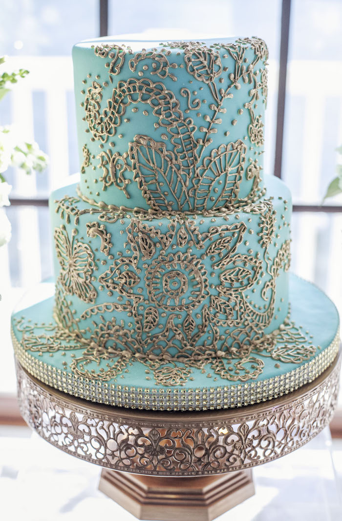 Cake from an Indian Inspired Baby Shower on Kara's Party Ideas | KarasPartyIdeas.com (15)