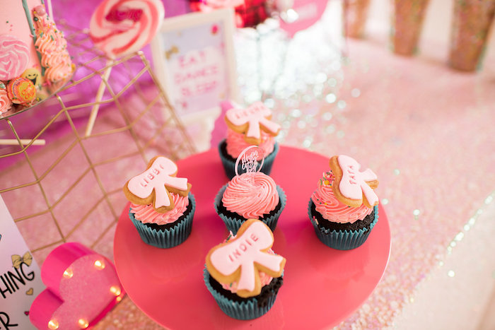 Bow Topped Cupcakes From A JoJo Siwa Inspired Girly Birthday Party On Karas Ideas