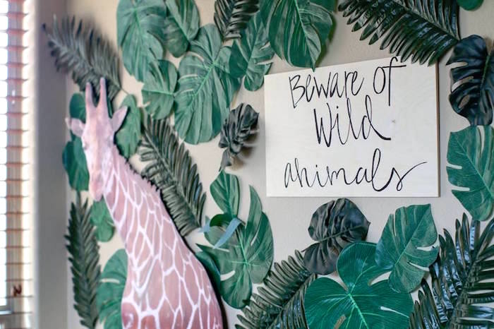 Beware of Wild Animals Jungle Backdrop from a Jungle Animal Birthday Party on Kara's Party Ideas | KarasPartyIdeas.com (17)