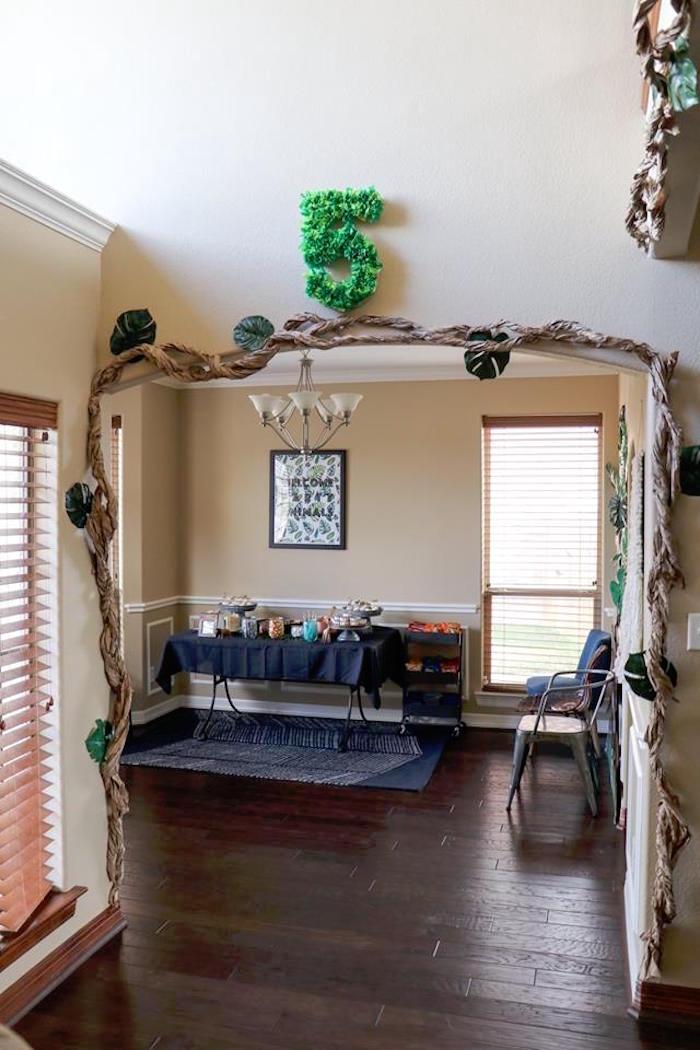 Jungle Vine Arch from a Jungle Animal Birthday Party on Kara's Party Ideas | KarasPartyIdeas.com (13)