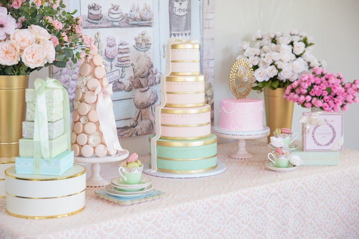 Dessert Table from a Ladurée Inspired Tea Party on Kara's Party Ideas | KarasPartyIdeas.com (11)