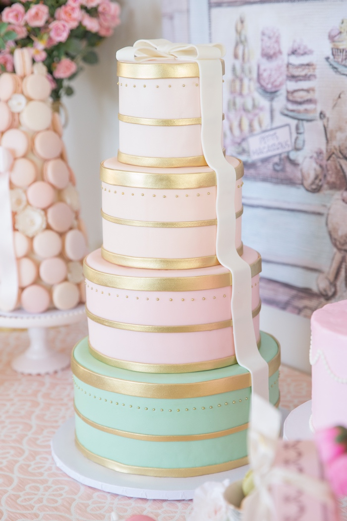 Box Stack Cake from a Ladurée Inspired Tea Party on Kara's Party Ideas | KarasPartyIdeas.com (8)