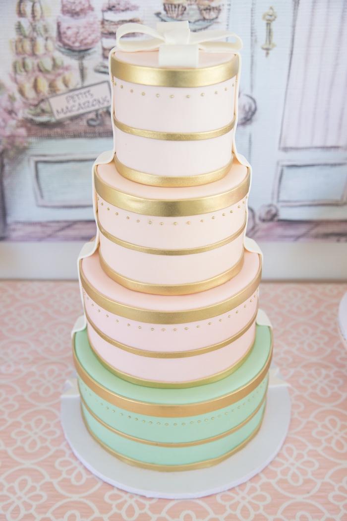 Hat Box Cake from a Ladurée Inspired Tea Party on Kara's Party Ideas | KarasPartyIdeas.com (19)