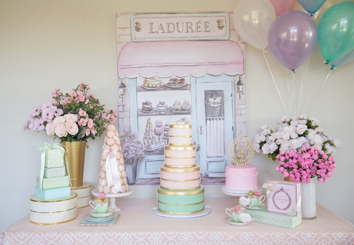Ladurée Dessert Table from a Ladurée Inspired Tea Party on Kara's Party Ideas | KarasPartyIdeas.com (18)
