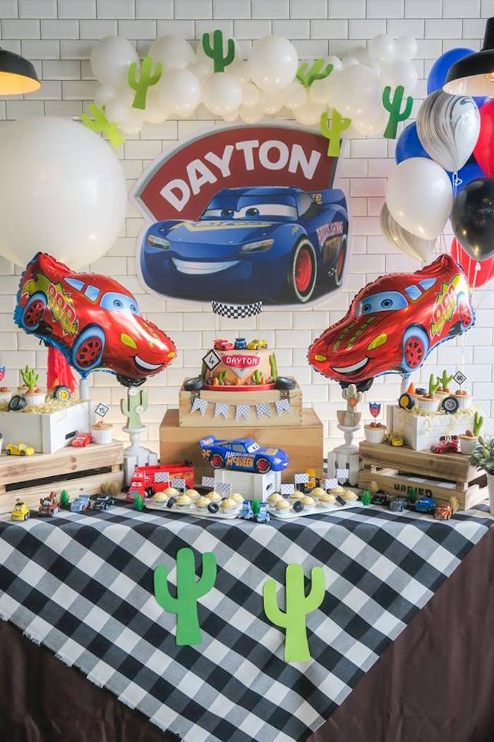 Cars Themed Dessert Table from a Lightning McQueen Cars Birthday Party on Kara's Party Ideas | KarasPartyIdeas.com (8)