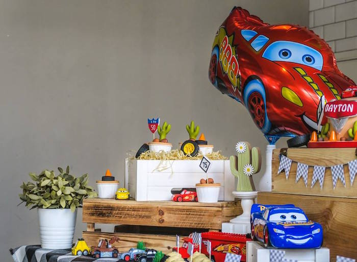 Cars Themed Dessert Table Detail from a Lightning McQueen Cars Birthday Party on Kara's Party Ideas | KarasPartyIdeas.com (7)