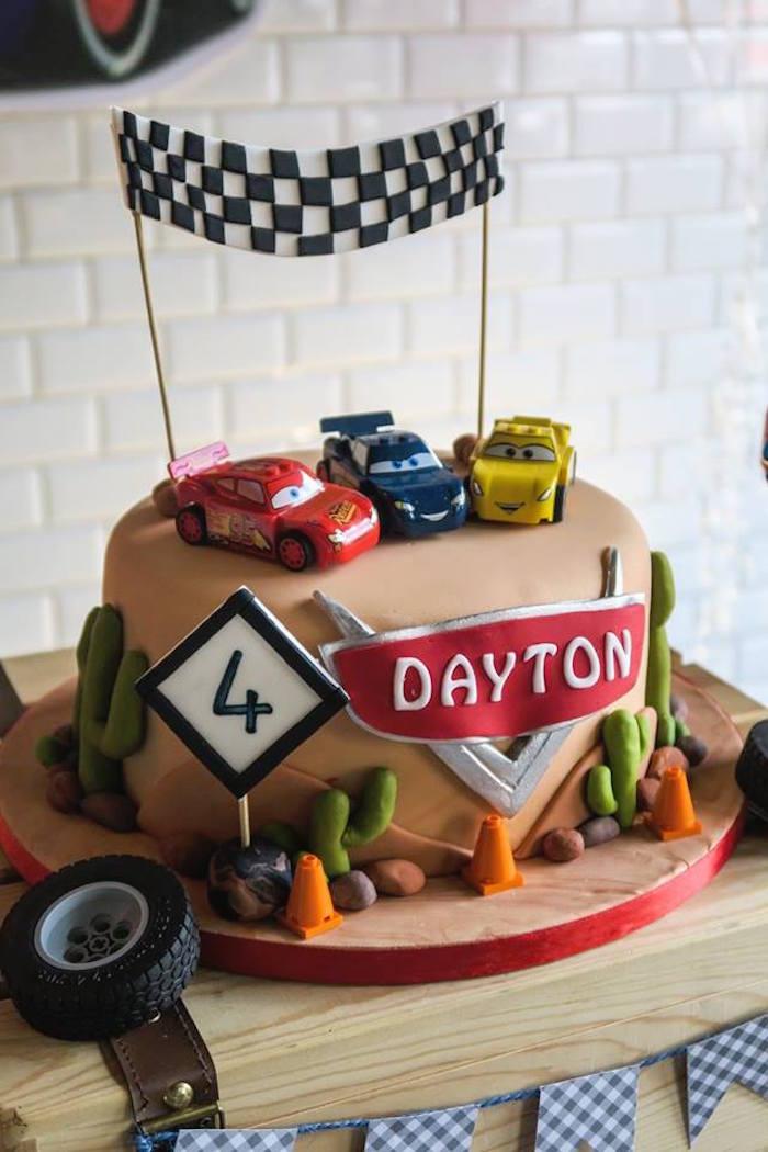 Karas Party Ideas Disneys Cars Cake from a Lightning McQueen