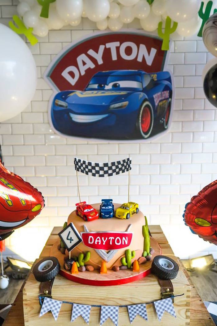 Cars Themed Cake from a Lightning McQueen Cars Birthday Party on Kara's Party Ideas | KarasPartyIdeas.com (16)