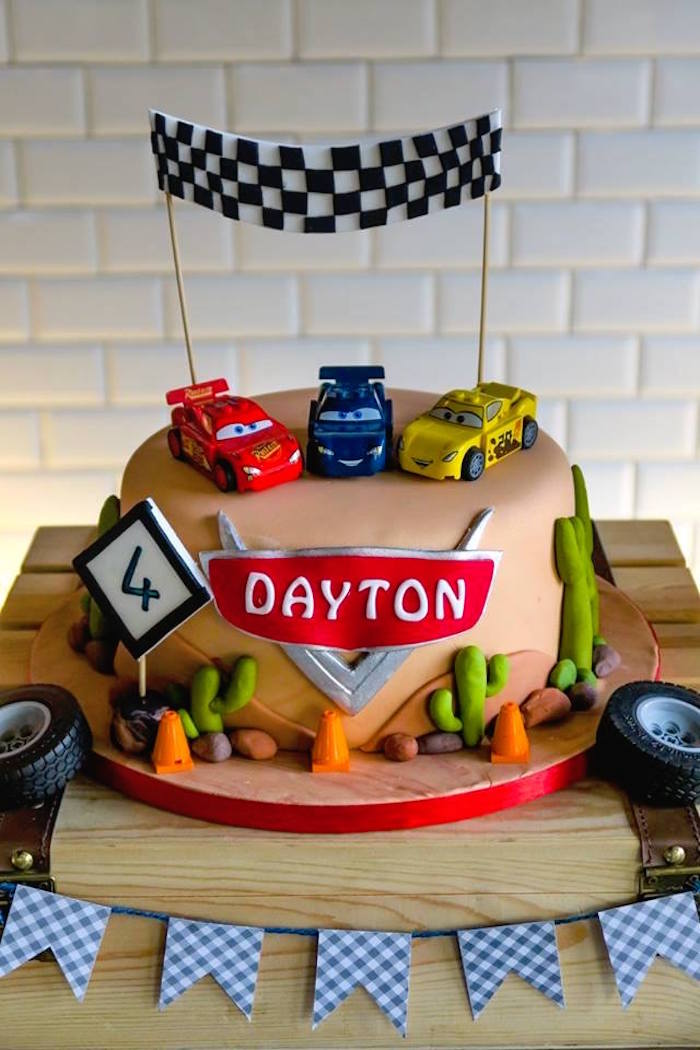 Cars Themed Cake from a Lightning McQueen Cars Birthday Party on Kara's Party Ideas | KarasPartyIdeas.com (15)