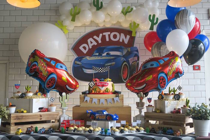 Cars Themed Dessert Table from a Lightning McQueen Cars Birthday Party on Kara's Party Ideas | KarasPartyIdeas.com (12)