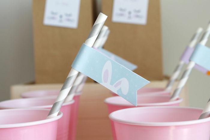 Bunny-Eared Straw Flag from a Little Bunny Party on Kara's Party Ideas | KarasPartyIdeas.com (10)