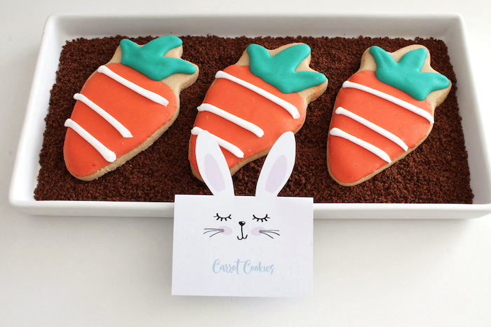 Carrot Cookies from a Little Bunny Party on Kara's Party Ideas | KarasPartyIdeas.com (7)