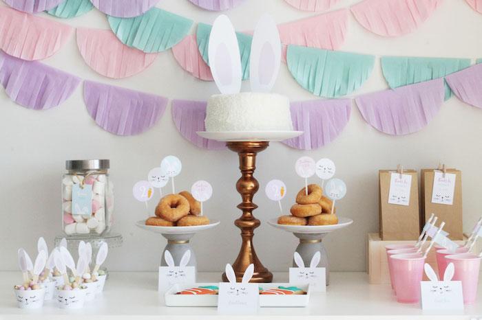 Bunny Dessert Table from a Little Bunny Party on Kara's Party Ideas | KarasPartyIdeas.com (17)