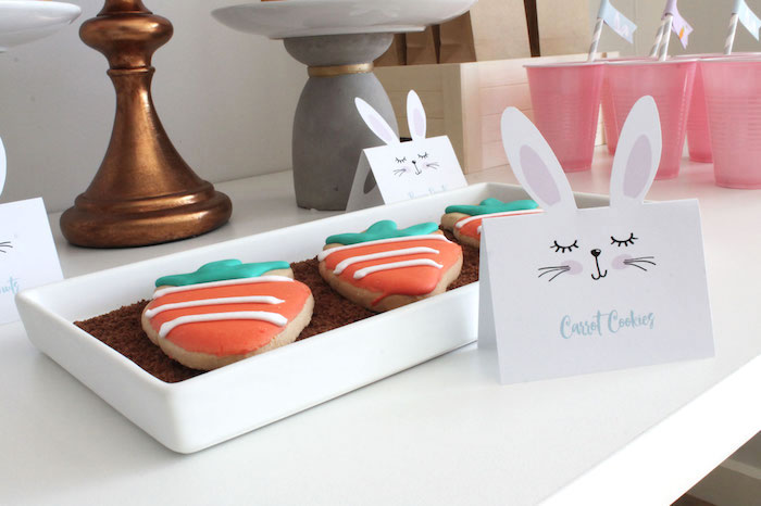 Carrot Cookies from a Little Bunny Party on Kara's Party Ideas | KarasPartyIdeas.com (14)