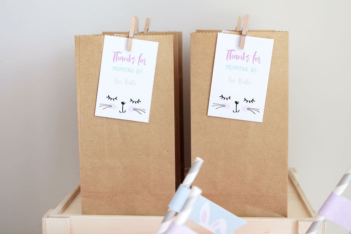 Bunny-tagged Brown Paper Favor Sacks from a Little Bunny Party on Kara's Party Ideas | KarasPartyIdeas.com (13)