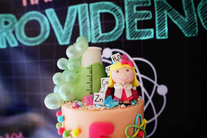Science Themed Cake Top from a Mad Science Birthday Party on Kara's Party Ideas | KarasPartyIdeas.com (21)