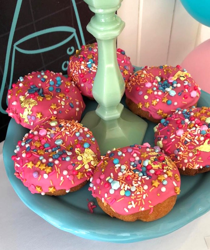 Pink Sprinkled Doughnuts from a Mad Science Birthday Party on Kara's Party Ideas | KarasPartyIdeas.com (6)