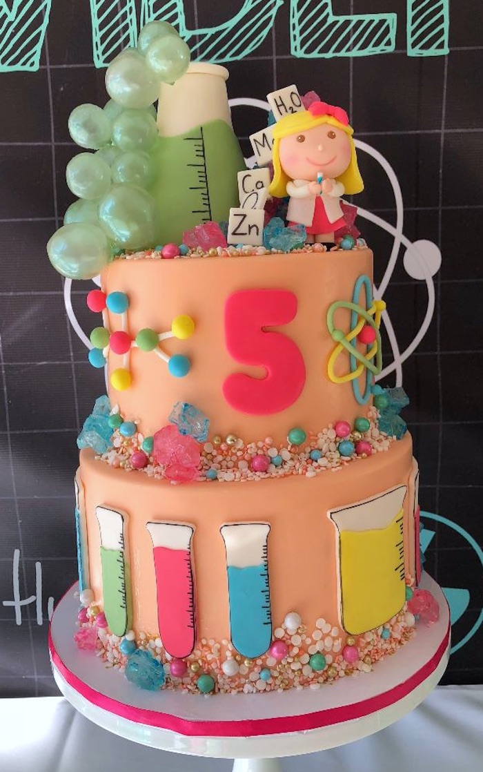 Girly Science Cake from a Mad Science Birthday Party on Kara's Party Ideas | KarasPartyIdeas.com (3)