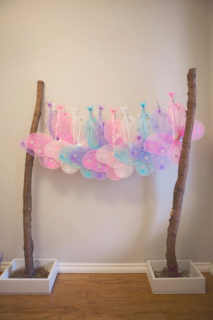 Tree-strung Fairy Wings from a Magical Fairy Birthday Party on Kara's Party Ideas | KarasPartyIdeas.com (32)