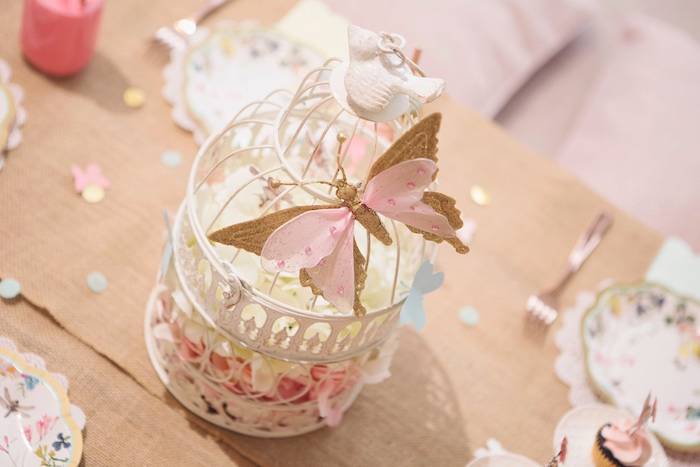 Butterfly Cage Centerpiece from a Magical Fairy Birthday Party on Kara's Party Ideas | KarasPartyIdeas.com (12)