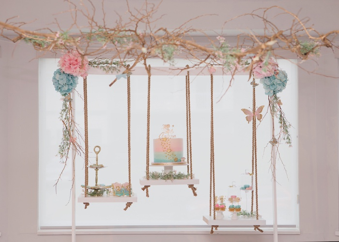 Swing Dessert Tables from a Magical Fairy Birthday Party on Kara's Party Ideas | KarasPartyIdeas.com (7)