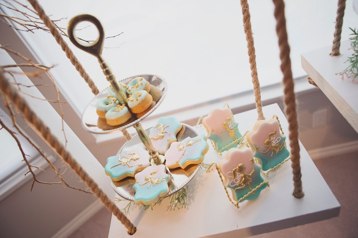 Suspended Swing Dessert Table from a Magical Fairy Birthday Party on Kara's Party Ideas | KarasPartyIdeas.com (27)