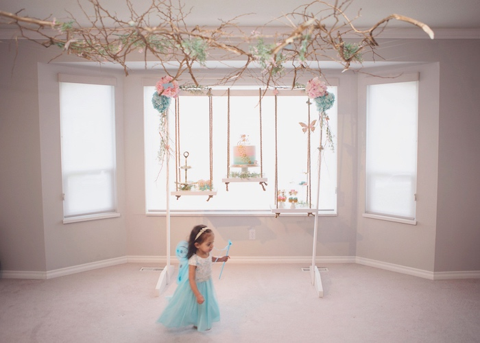 Suspended Swing Dessert Tables from a Magical Fairy Birthday Party on Kara's Party Ideas | KarasPartyIdeas.com (26)
