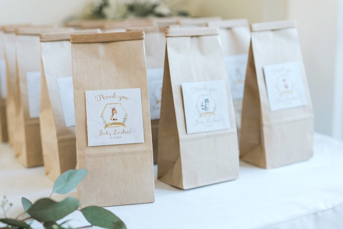 Brown Favor Sacks from a Marbled Modern Woodland Baby Shower on Kara's Party Ideas | KarasPartyIdeas.com (11)