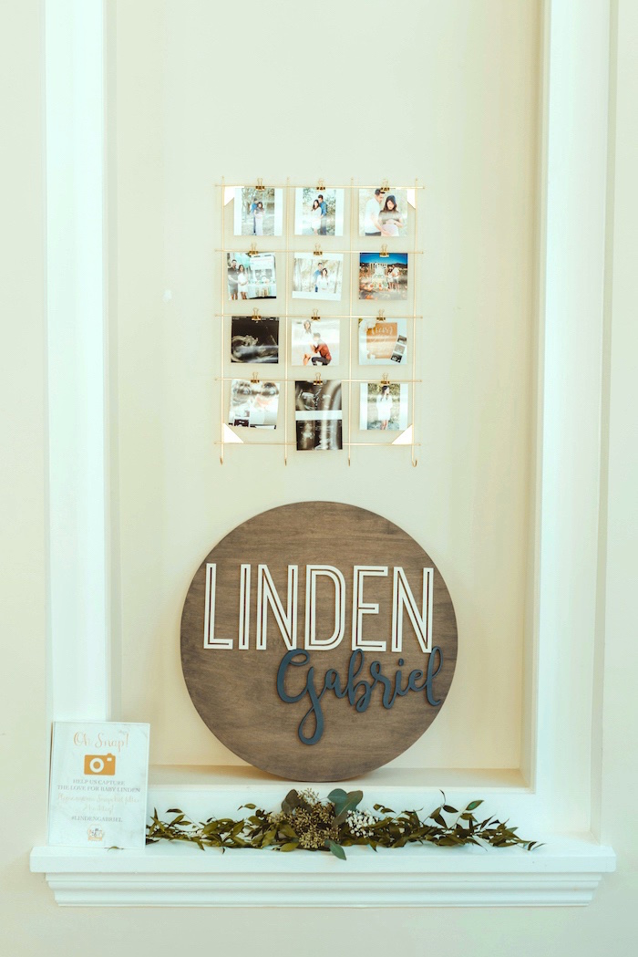 Wooden Name Sign from a Marbled Modern Woodland Baby Shower on Kara's Party Ideas | KarasPartyIdeas.com (8)