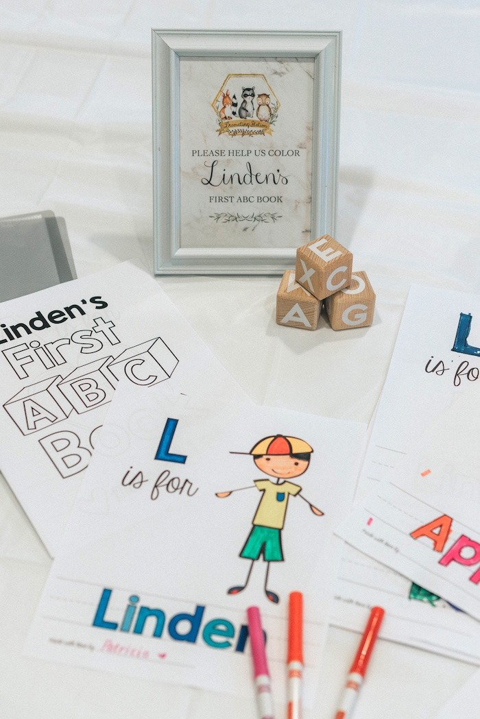 Coloring Pages from a Marbled Modern Woodland Baby Shower on Kara's Party Ideas | KarasPartyIdeas.com (7)