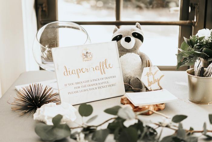 Diaper Raffle from a Marbled Modern Woodland Baby Shower on Kara's Party Ideas | KarasPartyIdeas.com (21)