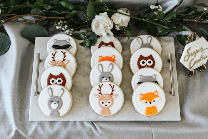 Woodland Animal Sugar Cookies from a Marbled Modern Woodland Baby Shower on Kara's Party Ideas | KarasPartyIdeas.com (17)