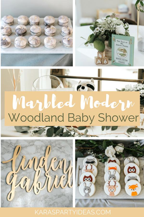 Marbled Modern Woodland Baby Shower via Kara's Party Ideas - KarasPartyIdeas.com